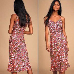 Lulus Zenia Silky Floral 2 PC Midi and Crop Top